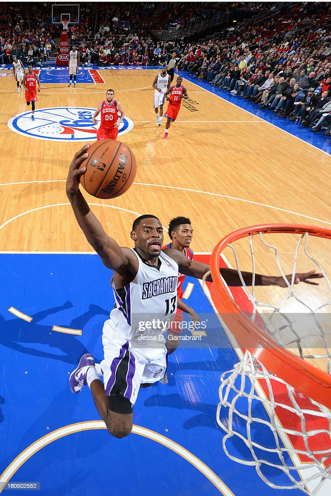 <a gi-track='captionPersonalityLinkClicked' href=/galleries/search?phrase=Tyreke+Evans&family=editorial&specificpeople=4851025 ng-click='$event.stopPropagation()'>Tyreke Evans</a> #13 of the Sacramento Kings goes to the basket against the Philadelphia 76ers during the game at the Wells Fargo Center on February 1, 2013 in Philadelphia, Pennsylvania.