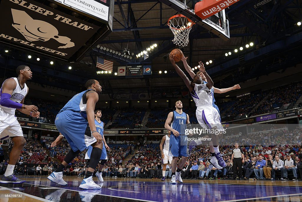 Tyreke Evans #13 of the Sacramento Kings goes to the basket against the Minnesota Timberwolves on March 21, 2013 at Sleep Train Arena in Sacramento, California.