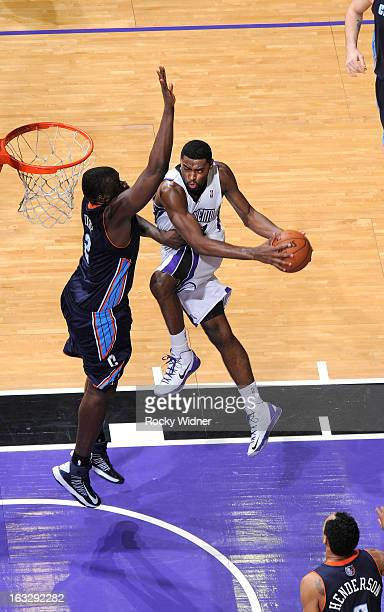 Tyreke Evans of the Sacramento Kings goes up for the shot against DeSagana Diop of the Charlotte Bobcats on March 3 2013 at Sleep Train Arena in...