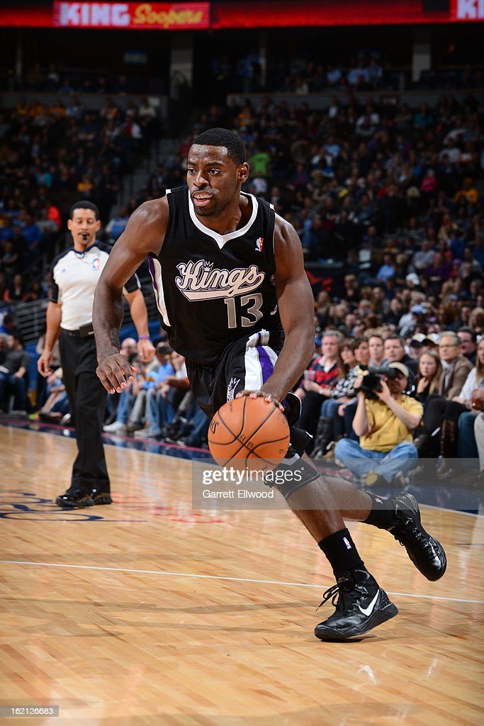 <a gi-track='captionPersonalityLinkClicked' href=/galleries/search?phrase=Tyreke+Evans&family=editorial&specificpeople=4851025 ng-click='$event.stopPropagation()'>Tyreke Evans</a> #13 of the Sacramento Kings handles the ball against the Denver Nuggets on January 26, 2013 at the Pepsi Center in Denver, Colorado.