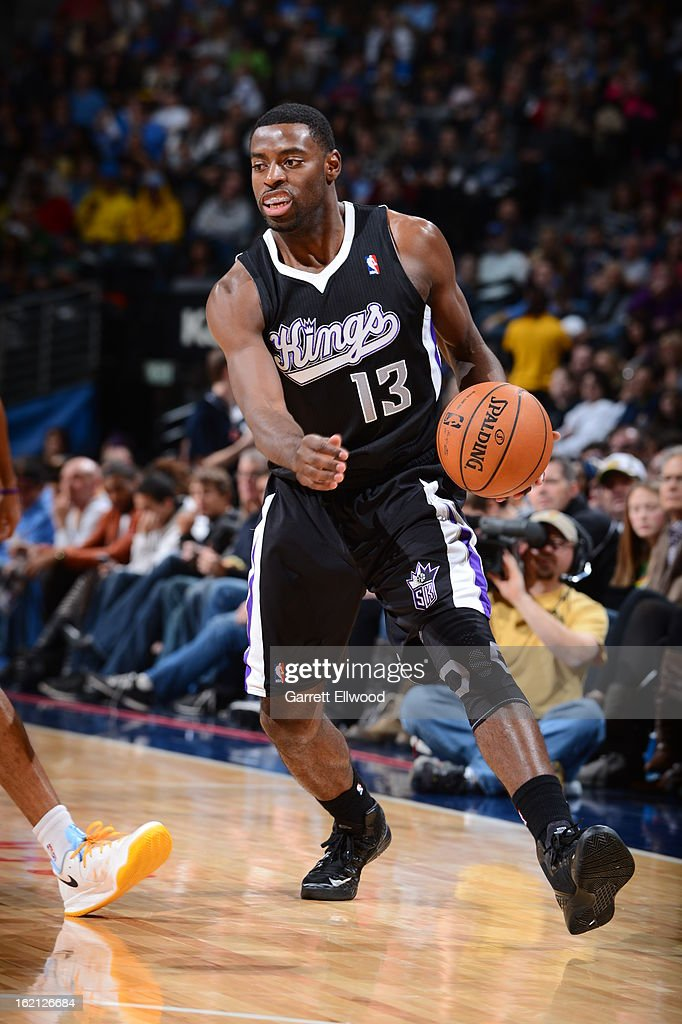 Tyreke Evans #13 of the Sacramento Kings handles the ball against the Denver Nuggets on January 26, 2013 at the Pepsi Center in Denver, Colorado.
