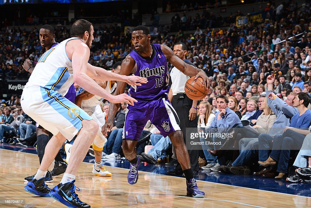 <a gi-track='captionPersonalityLinkClicked' href=/galleries/search?phrase=Tyreke+Evans&family=editorial&specificpeople=4851025 ng-click='$event.stopPropagation()'>Tyreke Evans</a> #13 of the Sacramento Kings looks to drive to the basket against the Denver Nuggets on March 23, 2012 at the Pepsi Center in Denver, Colorado.