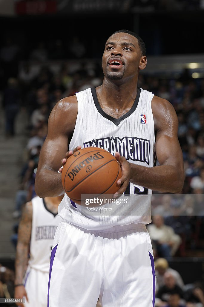 <a gi-track='captionPersonalityLinkClicked' href=/galleries/search?phrase=Tyreke+Evans&family=editorial&specificpeople=4851025 ng-click='$event.stopPropagation()'>Tyreke Evans</a> #13 of the Sacramento Kings shoots a free throw against the Houston Rockets on April 3, 2013 at Sleep Train Arena in Sacramento, California.