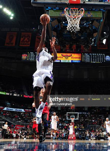 Tyreke Evans of the Sacramento Kings shoots a layup against the Atlanta Hawks on February 22 2013 at Philips Arena in Atlanta Georgia NOTE TO USER...