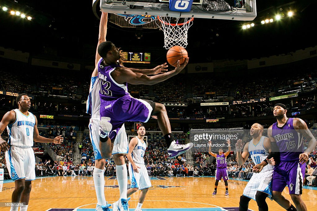 <a gi-track='captionPersonalityLinkClicked' href=/galleries/search?phrase=Tyreke+Evans&family=editorial&specificpeople=4851025 ng-click='$event.stopPropagation()'>Tyreke Evans</a> #13 of the Sacramento Kings shoots a reverse layup against the New Orleans Hornets on February 24, 2013 at the New Orleans Arena in New Orleans, Louisiana.