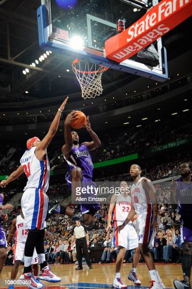 Tyreke Evans of the Sacramento Kings shoots against Charlie Villanueva of the Detroit Pistons in a game on January 15 2011 at The Palace of Auburn...