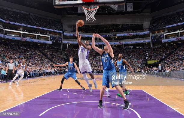 Tyreke Evans of the Sacramento Kings shoots against Cole Aldrich of the Minnesota Timberwolves on February 27 2017 at Golden 1 Center in Sacramento...