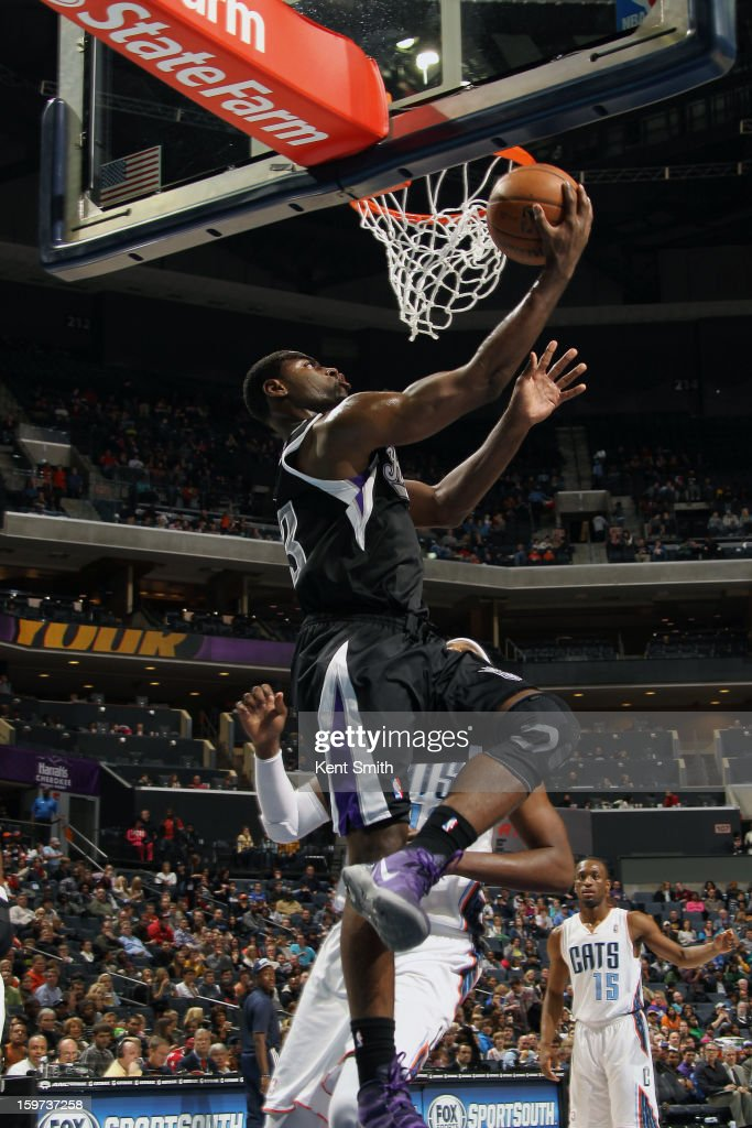 Tyreke Evans #13 of the Sacramento Kings shoots against the Charlotte Bobcats at the Time Warner Cable Arena on January 19, 2013 in Charlotte, North Carolina.