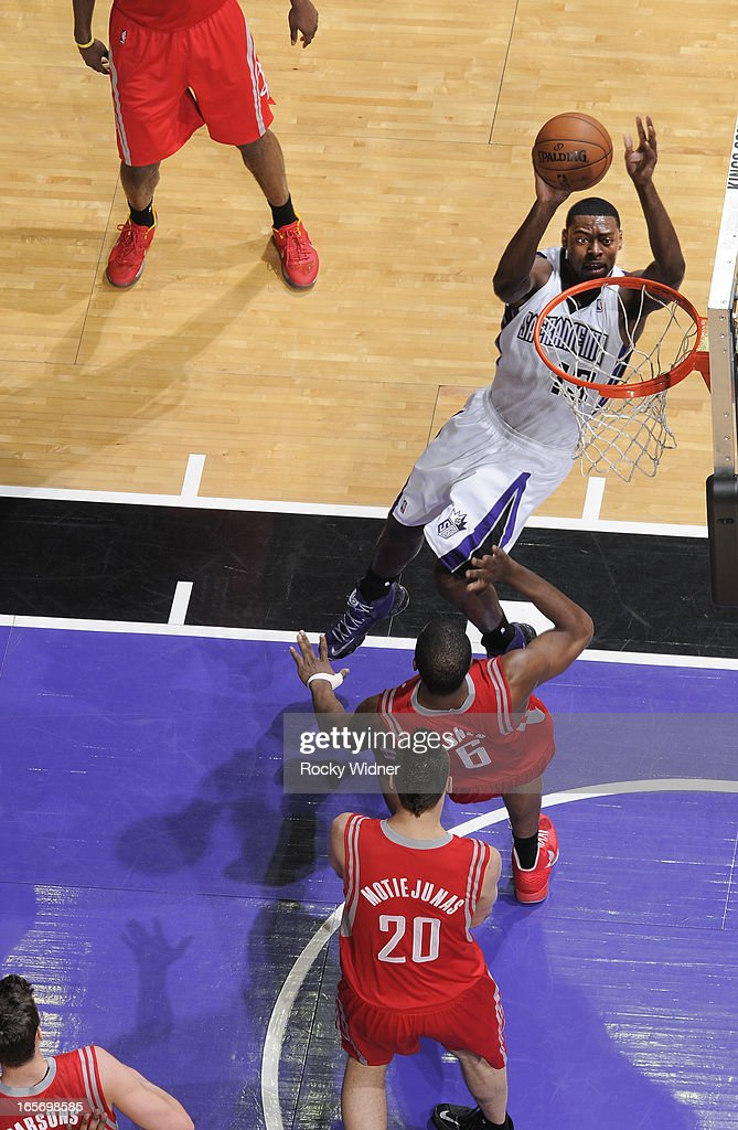 Tyreke Evans #13 of the Sacramento Kings shoots against the Houston Rockets on April 3, 2013 at Sleep Train Arena in Sacramento, California.