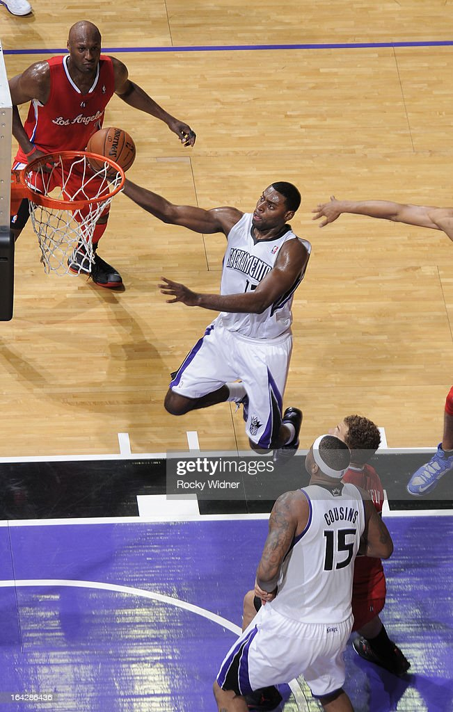 <a gi-track='captionPersonalityLinkClicked' href=/galleries/search?phrase=Tyreke+Evans&family=editorial&specificpeople=4851025 ng-click='$event.stopPropagation()'>Tyreke Evans</a> #13 of the Sacramento Kings shoots against the Los Angeles Clippers on March 19, 2013 at Sleep Train Arena in Sacramento, California.