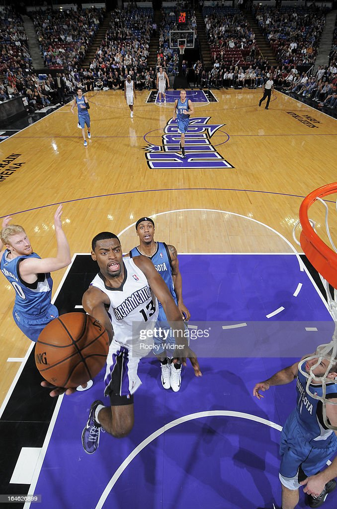 Tyreke Evans #13 of the Sacramento Kings shoots against the Minnesota Timberwolves on March 21, 2013 at Sleep Train Arena in Sacramento, California.