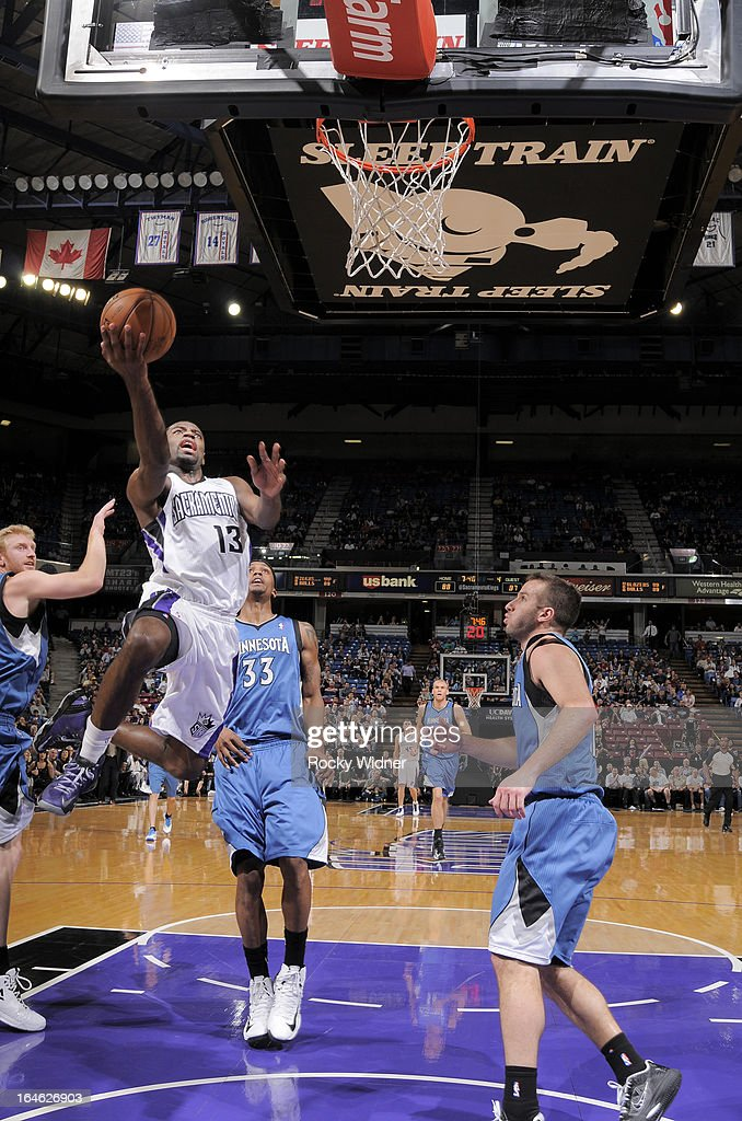 Tyreke Evans #13 of the Sacramento Kings shoots against the Minnesota Timberwolves on March 21, 2013 at Sleep Train Arena in Sacramento, California.