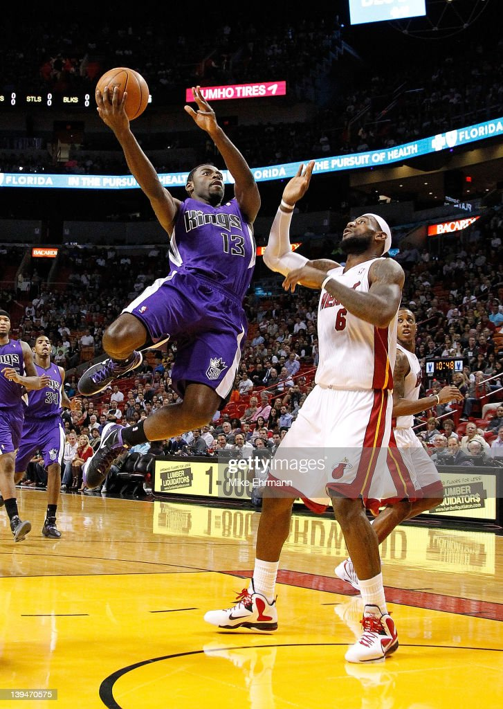 <a gi-track='captionPersonalityLinkClicked' href=/galleries/search?phrase=Tyreke+Evans&family=editorial&specificpeople=4851025 ng-click='$event.stopPropagation()'>Tyreke Evans</a> #13 of the Sacramento Kings shoots over <a gi-track='captionPersonalityLinkClicked' href=/galleries/search?phrase=LeBron+James&family=editorial&specificpeople=201474 ng-click='$event.stopPropagation()'>LeBron James</a> #6 of the Miami Heat during a game at American Airlines Arena on February 21, 2012 in Miami, Florida.