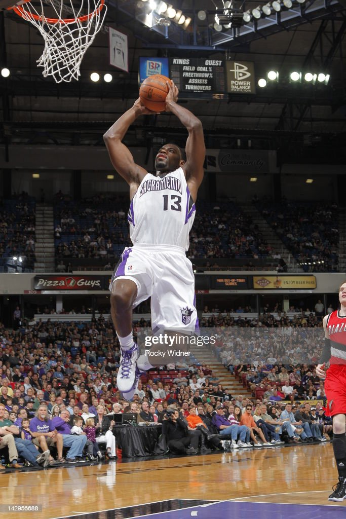 <a gi-track='captionPersonalityLinkClicked' href=/galleries/search?phrase=Tyreke+Evans&family=editorial&specificpeople=4851025 ng-click='$event.stopPropagation()'>Tyreke Evans</a> #13 of the Sacramento Kings shoots the ball against the Portland Trail Blazers on April 15, 2012 at Power Balance Pavilion in Sacramento, California.