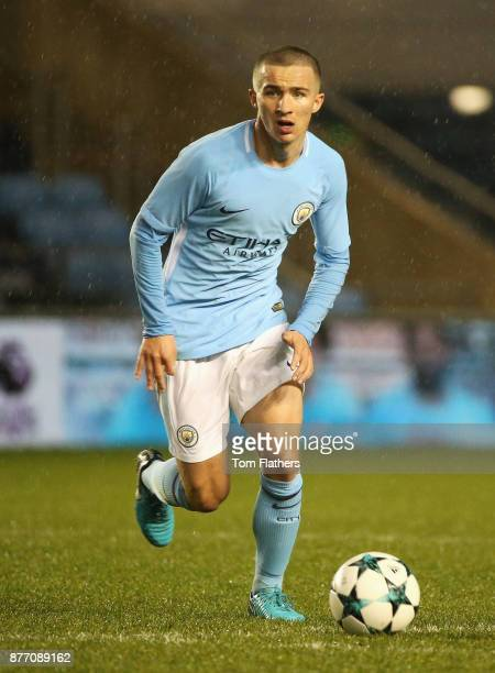 Tyreke Wilson of Manchester City in action during the UEFA Youth League Group F match between Manchester City and Feyenoord at Manchester City...