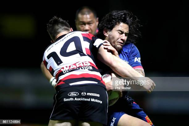 Tyrel Lomax of Tasman is tackled during the round nine Mitre 10 Cup match between Counties Manukau and Tasman at ECOLight Stadium on October 14 2017...