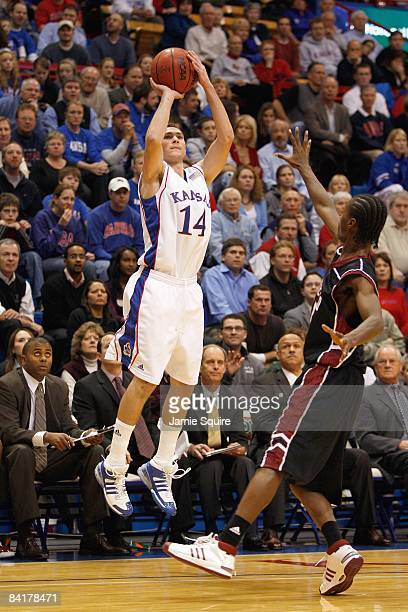 Tyrel Reed of the Kansas Jayhawks makes a jumpshot during the game against the New Mexico State Aggies on December 3 2008 at Allen Fieldhouse in...