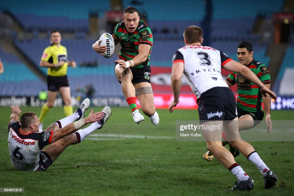 Tyrell Fuimaono of the Rabbitohs jumps to evade the defence during the round 24 NRL match between the South Sydney Rabbitohs and the New Zealand Warriors at ANZ Stadium on August 18, 2017 in Sydney, Australia.