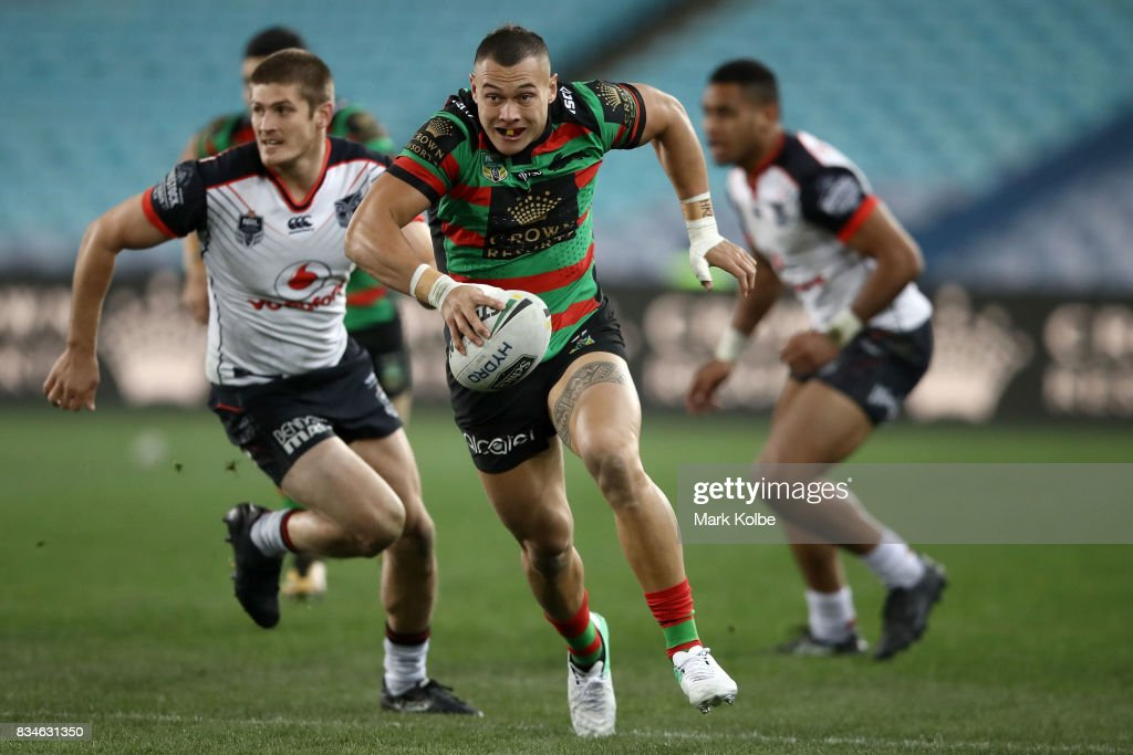 Tyrell Fuimaono of the Rabbitohs makes break during the round 24 NRL match between the South Sydney Rabbitohs and the New Zealand Warriors at ANZ Stadium on August 18, 2017 in Sydney, Australia.