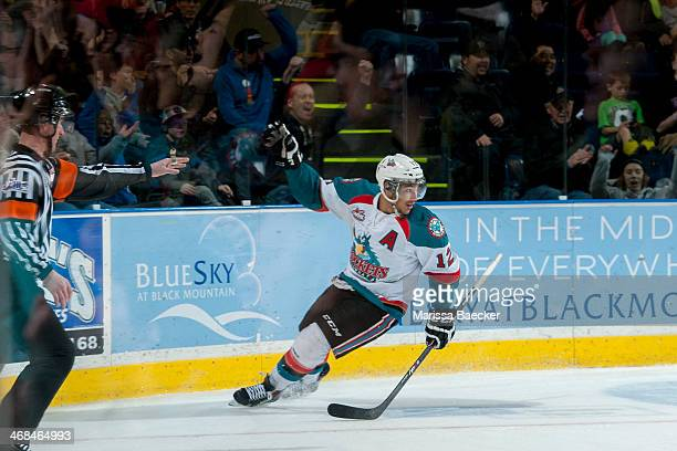 Tyrell Goulbourne of the Kelowna Rockets celebrates a goal against the Seattle Thunderbirds on February 10 2014 at Prospera Place in Kelowna British...