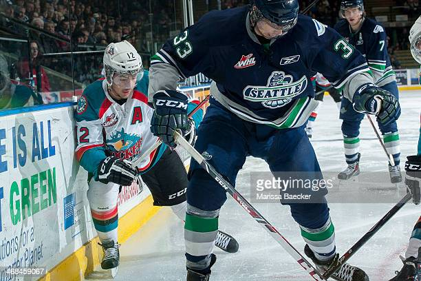 Tyrell Goulbourne of the Kelowna Rockets skates against the Seattle Thunderbirds on February 10 2014 at Prospera Place in Kelowna British Columbia...