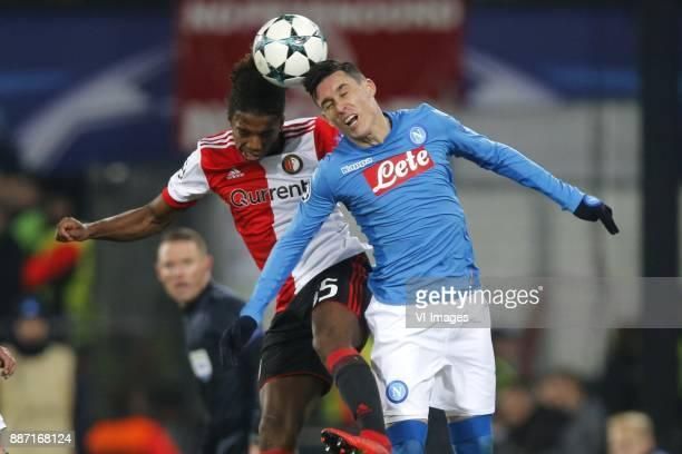 Tyrell Malacia of Feyenoord Jose Callejon of SSC Napoli during the UEFA Champions League group F match between Feyenoord Rotterdam and SSC Napoli at...