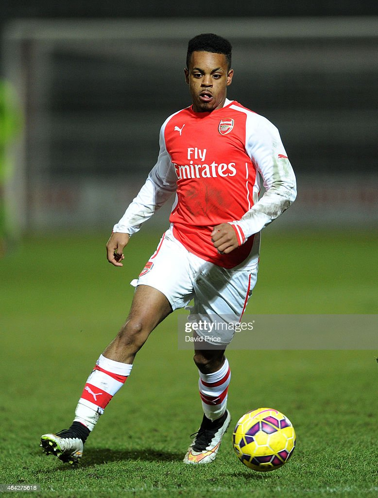 Tyrell Robinson of Arsenal during the match between Arsenal U18 and Crewe Alexandra U18 in the FA Youth Cup 5th Round at The Hive on February 23 2015...