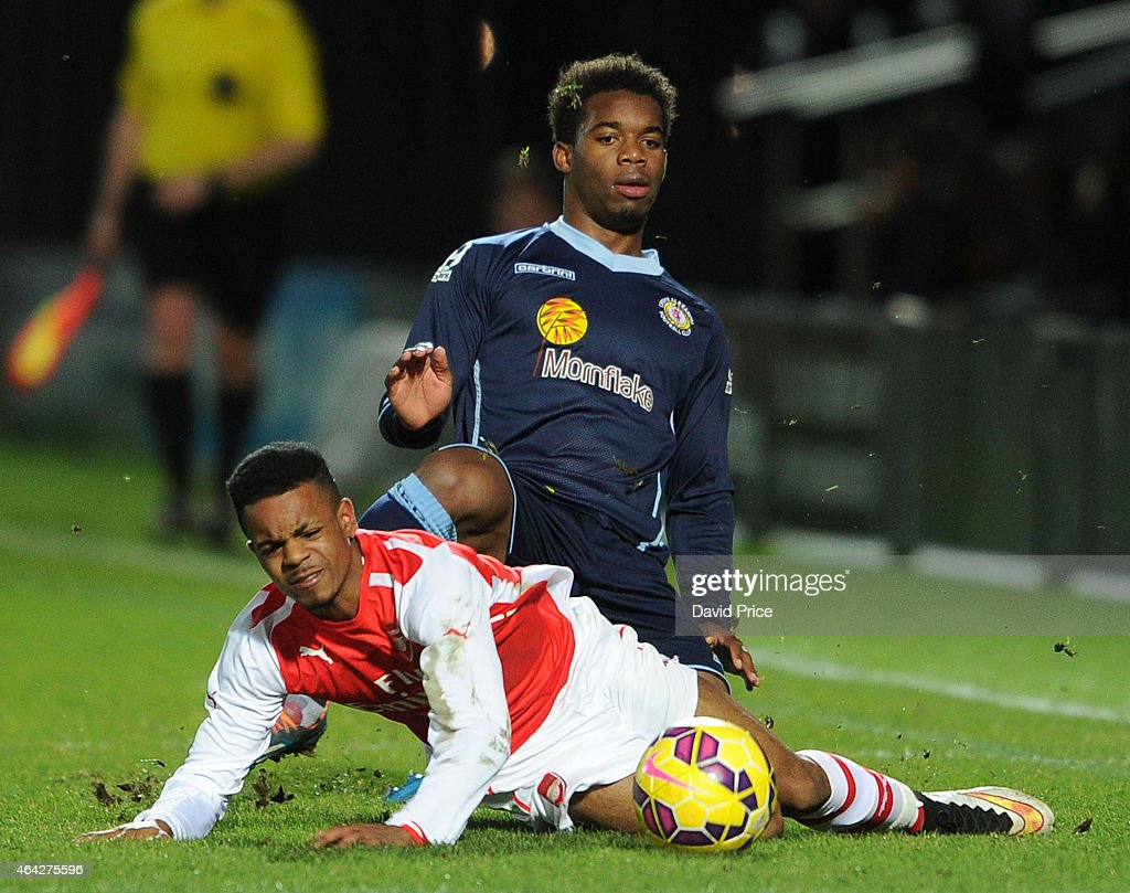 Tyrell Robinson of Arsenal is fouled by Andre Brown of Crewe during the match between Arsenal U18 and Crewe Alexandra U18 in the FA Youth Cup 5th...