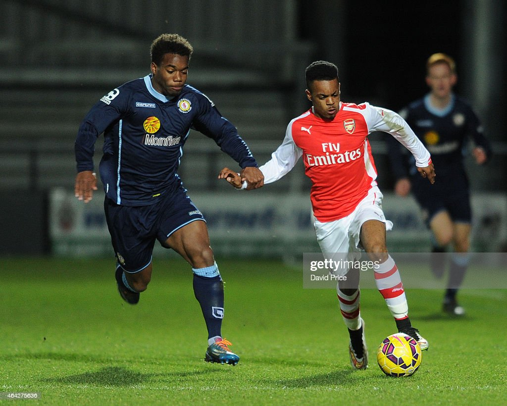 Tyrell Robinson of Arsenal takes on Andre Brown of Crewe during the match between Arsenal U18 and Crewe Alexandra U18 in the FA Youth Cup 5th Round...