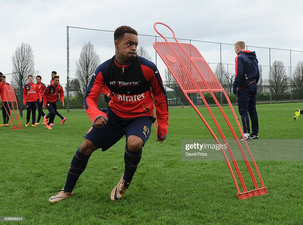 Tyrell Robinson of Arsenal the U19 team during their training session at London Colney on February 8, 2016 in St Albans, England.