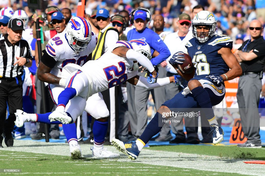 Tyrell Williams #16 of the Los Angeles Chargers hit by E.J. Gaines #28 of the Buffalo Bills during the first half of the game at StubHub Center on November 19, 2017 in Carson, California.