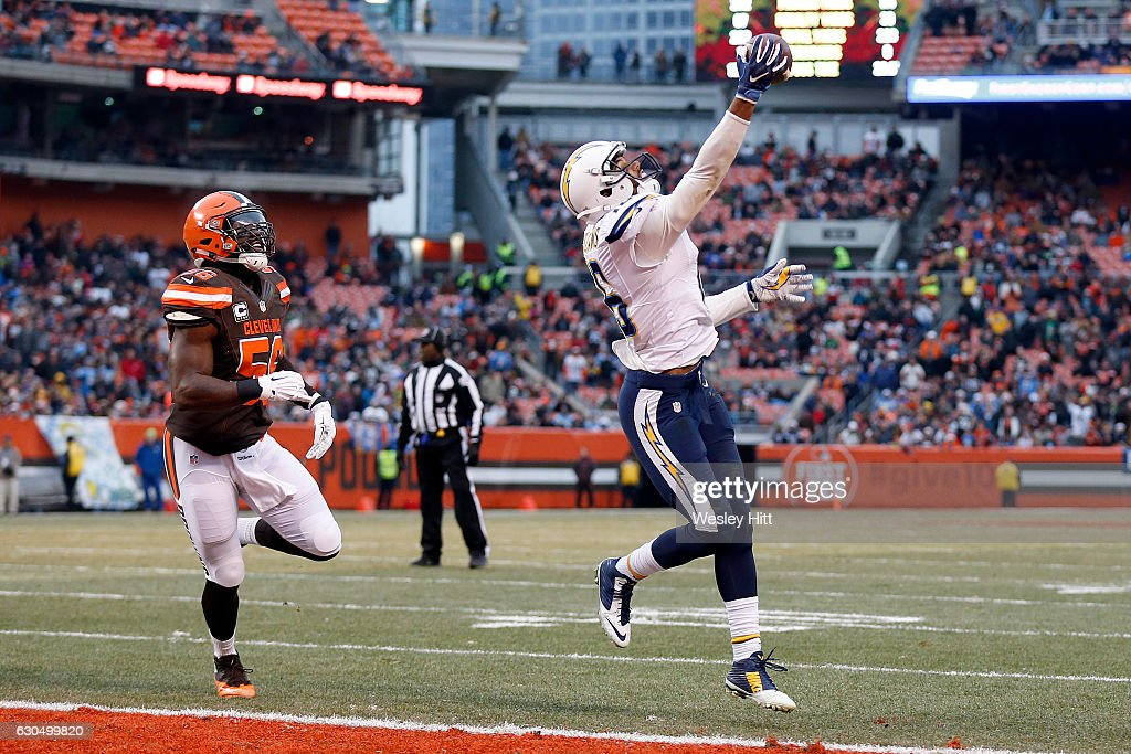 Tyrell Williams #16 of the San Diego Chargers pulls in a 1 yard touchdown pass in the third quarter against Demario Davis #56 of the Cleveland Browns at FirstEnergy Stadium on December 24, 2016 in Cleveland, Ohio.