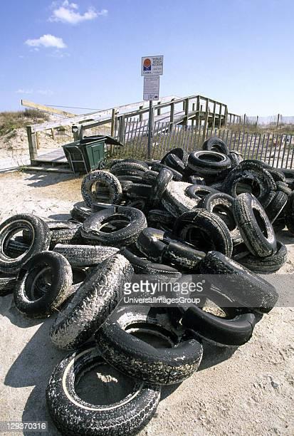 Tyres dumped on beach North Carolina