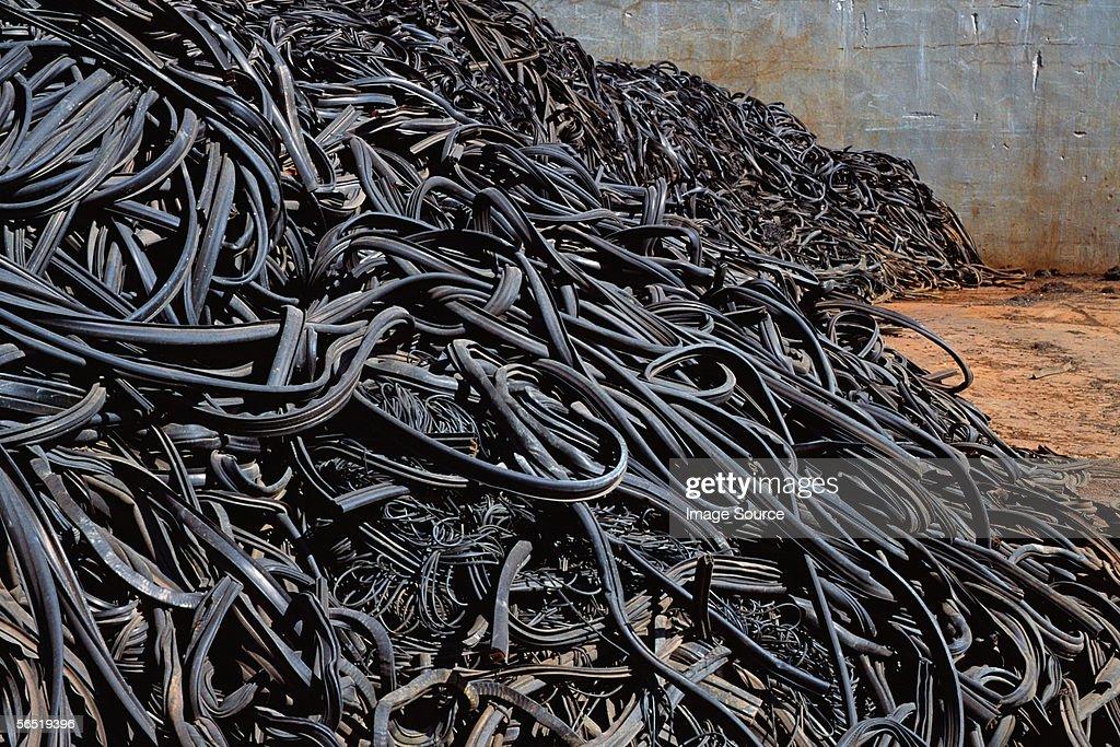 Tyres in scrap yard : Stock Photo