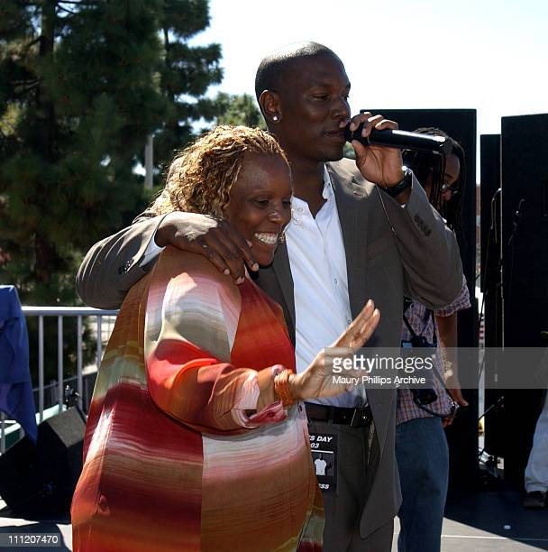 Tyrese and mom Priscilla Murray during Tyrese Gibson Watts Foundation 3rd Annual Watts Day 2003 at Charles Drew University of Medicine and Science in...