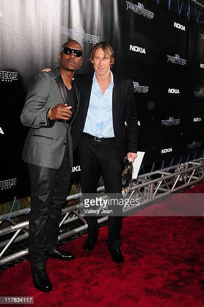 Tyrese Gibson and Michael Bay arrive at the red carpet VIP screening of 'Transformers Dark of the Moon' at Regal South Beach Cinema on June 30 2011...