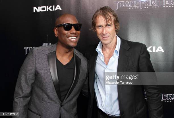 Tyrese Gibson and Michael Bay energize Transformers 3 Miami Red Carpet on June 29 2011 in Miami Florida