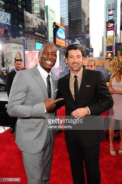 Tyrese Gibson and Patrick Dempsey attend the 'Transformers Dark Of The Moon' premiere in Times Square on June 28 2011 in New York City