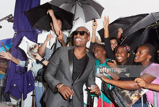 Tyrese Gibson arrives at the red carpet VIP screening of 'Transformers Dark of the Moon' at Regal South Beach Cinema on June 30 2011 in Miami Beach...