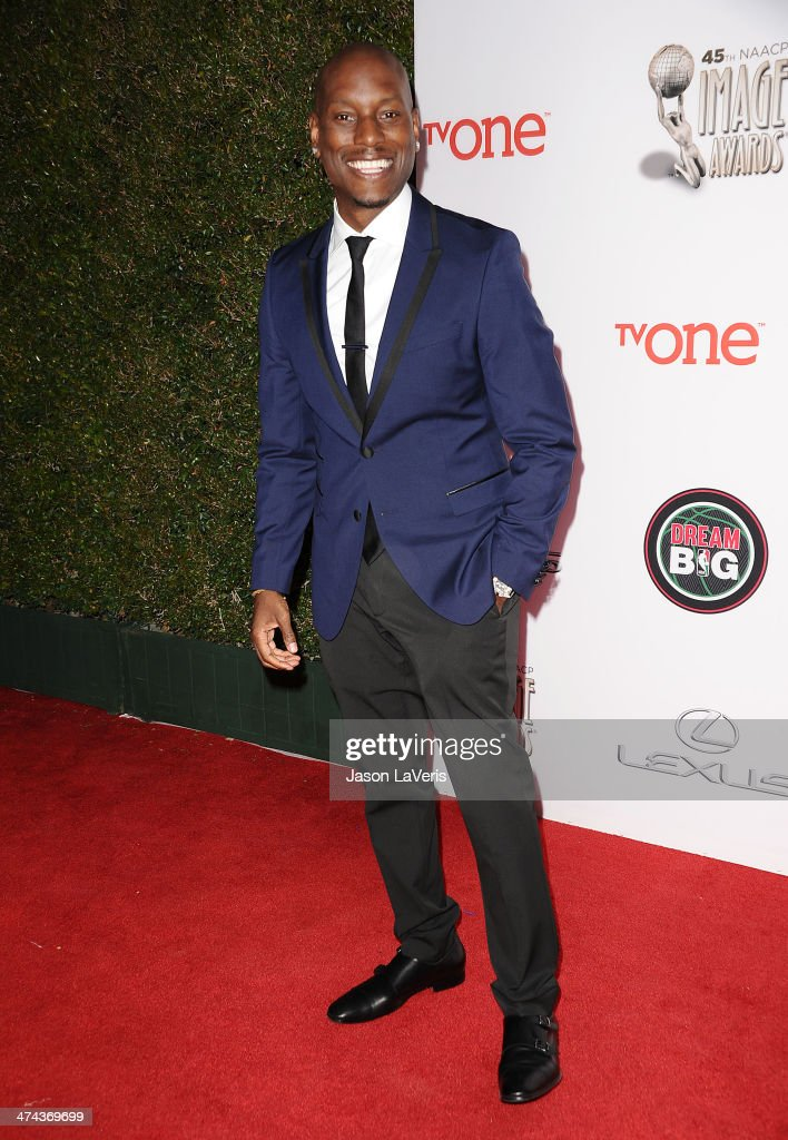 <a gi-track='captionPersonalityLinkClicked' href=/galleries/search?phrase=Tyrese&family=editorial&specificpeople=206177 ng-click='$event.stopPropagation()'>Tyrese</a> Gibson attends the 45th NAACP Image Awards at Pasadena Civic Auditorium on February 22, 2014 in Pasadena, California.