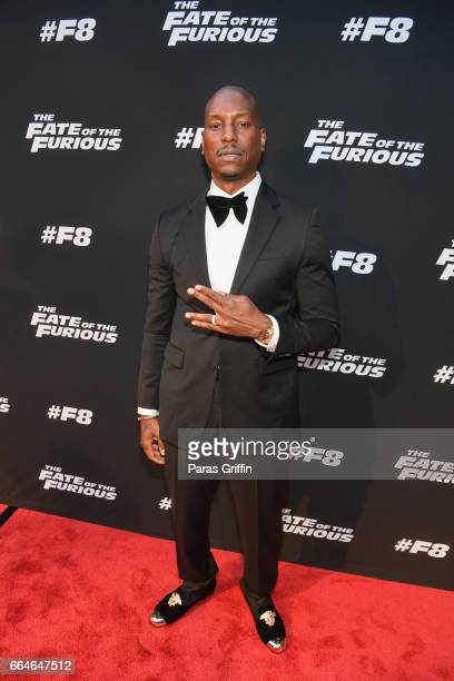 Tyrese Gibson attends 'The Fate Of The Furious' Atlanta red carpet screening at SCADshow on April 4 2017 in Atlanta Georgia