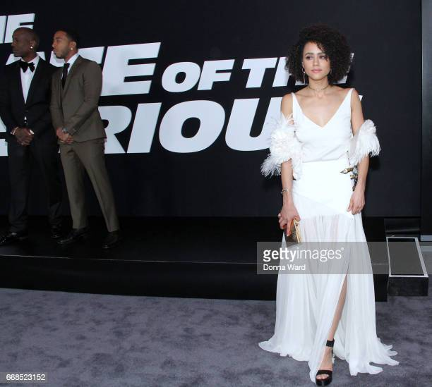 Tyrese Gibson Chris 'Ludacris' Bridges and Nathalie Emmanuel attend 'The Fate of The Furious' New York Premiere at Radio City Music Hall on April 8...