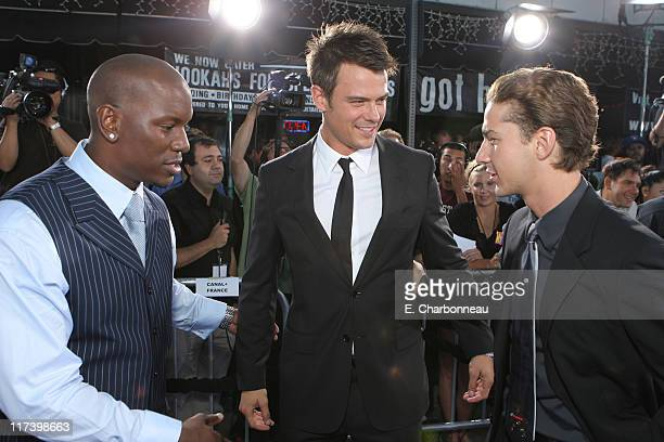 Tyrese Gibson Josh Duhamel and Shia Labeouf during DreamWorks Pictures and Paramount Pictures Los Angeles Premiere of 'Transformers' at Mann's...