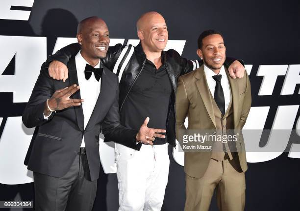 Tyrese Gibson Vin Diesel and Ludacris attend 'The Fate Of The Furious' New York premiere at Radio City Music Hall on April 8 2017 in New York City