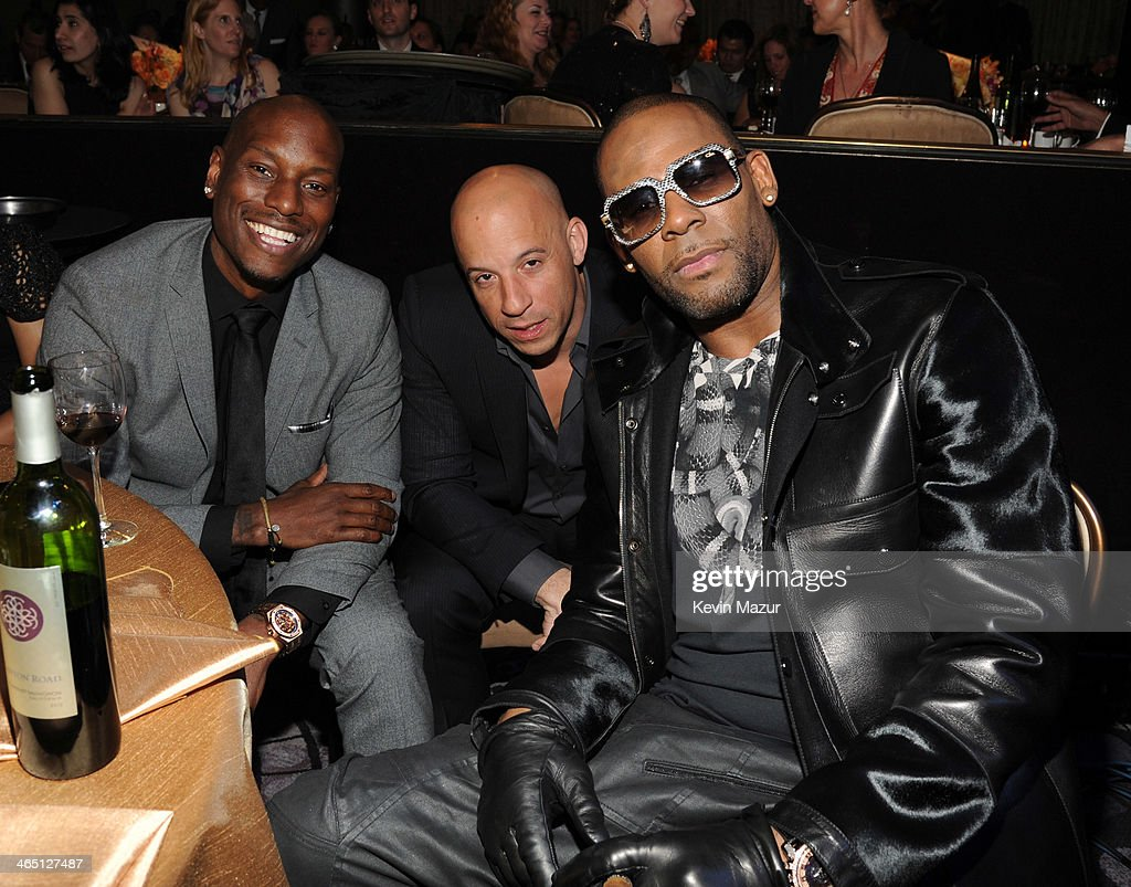 <a gi-track='captionPersonalityLinkClicked' href=/galleries/search?phrase=Tyrese&family=editorial&specificpeople=206177 ng-click='$event.stopPropagation()'>Tyrese</a> Gibson, <a gi-track='captionPersonalityLinkClicked' href=/galleries/search?phrase=Vin+Diesel&family=editorial&specificpeople=171983 ng-click='$event.stopPropagation()'>Vin Diesel</a> and <a gi-track='captionPersonalityLinkClicked' href=/galleries/search?phrase=R.+Kelly&family=editorial&specificpeople=204472 ng-click='$event.stopPropagation()'>R. Kelly</a> attend the 56th annual GRAMMY Awards Pre-GRAMMY Gala and Salute to Industry Icons honoring Lucian Grainge at The Beverly Hilton on January 25, 2014 in Los Angeles, California.