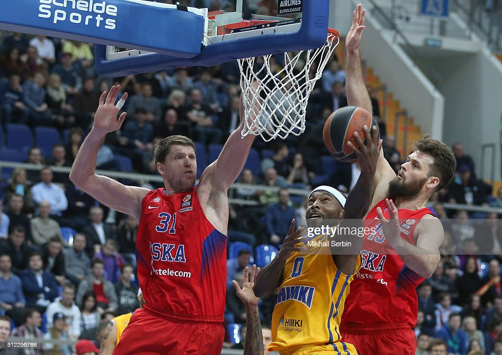 Tyrese Rice #0 of Khimki Moscow Region competes with Victor Khryapa #31 and Joel Freeland #19 of CSKA Moscow in action during the 20152016 Turkish...