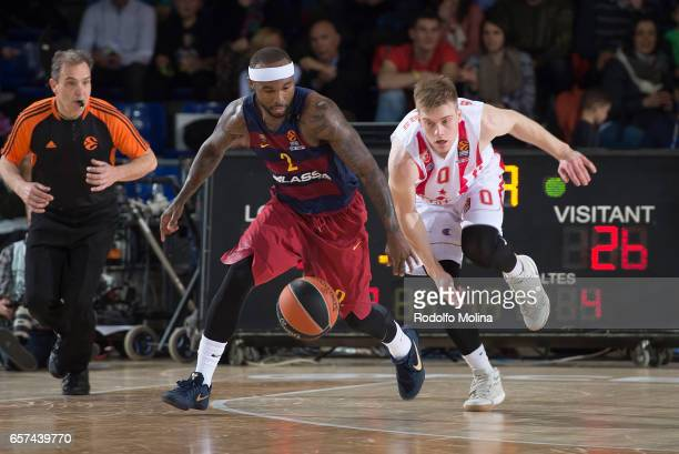 Tyrese Rice #2 of FC Barcelona Lassa competes with Nate Wolters #0 of Crvena Zvezda mts Belgrade during the 2016/2017 Turkish Airlines EuroLeague...