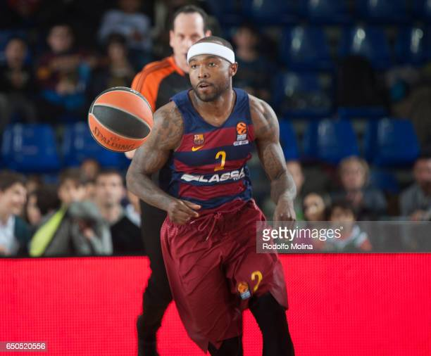 Tyrese Rice #2 of FC Barcelona Lassa in action during the 2016/2017 Turkish Airlines EuroLeague Regular Season Round 25 game between FC Barcelona...