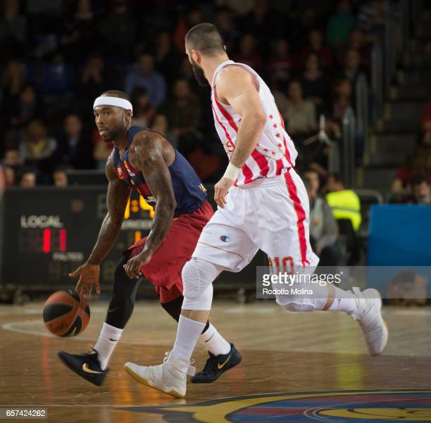 Tyrese Rice #2 of FC Barcelona Lassa in action during the 2016/2017 Turkish Airlines EuroLeague Regular Season Round 28 game between FC Barcelona...