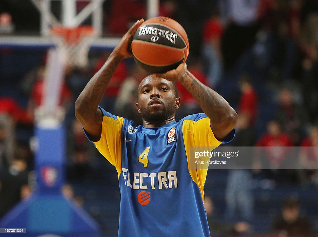 Tyrese Rice, #4 of Maccabi Electra Tel Aviv warming up before the 2013-2014 Turkish Airlines Euroleague Regular Season Date 4 game between Lietuvos Rytas Vilnius v Maccabi Electra Tel Aviv at Siemens Arena on November 7, 2013 in Vilnius, Lithuania.